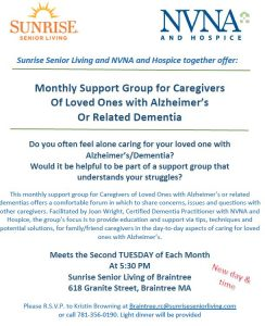 Alzheimer's/Dementia Cargivers @ Sunrise Senior Living