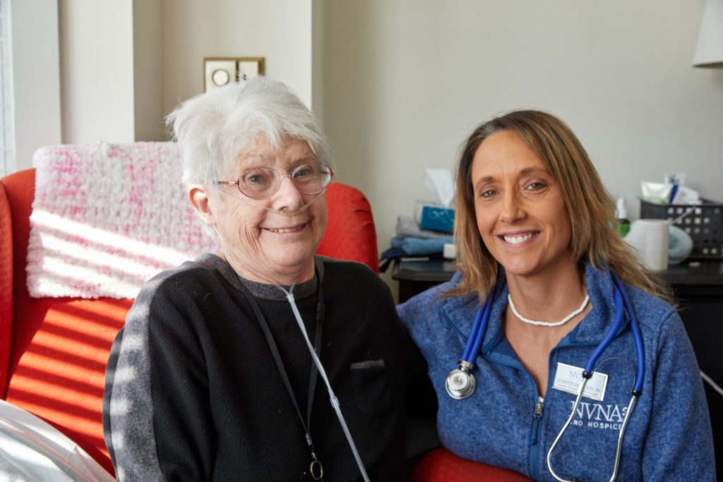 Helen and Nurse Jenn Smith at the Pat Roche Hospice Home in Hingham