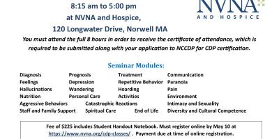 NCCDP Alzheimer's Disease and Dementia Care Seminar offered in Norwell, MA